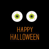 Eyeballs. Green eyes. Happy Halloween card. Stock Photography
