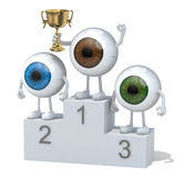 Eyeballs with winner cup on sports victory podium. Eyeballs with arms, legs and winner cup on sports victory podium Royalty Free Stock Photos