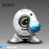 Eyeborg de prata do robo que projeta a terra do planeta em 3d Fotos de Stock