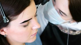 Eyebrow correction. Cosmetologist puts paint on the client`s eyebrows with brush. Side view. Eyebrow correction. Cosmetologist puts paint on the client`s stock footage