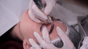 Eyebrow dusting pigment. Permanent makeup. 4K Slow Mo. Eyebrow dusting pigment. Permanent makeup stock footage