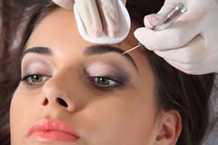 Eyebrow extension. Beautiful young woman eyebrow extension Stock Image