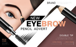 Eyebrow pencil and mascara ad. Mascara design picture, with single bright eye and eyelash for advertising use, 3d illustration Royalty Free Stock Photos