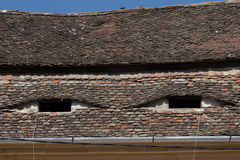 Eyebrow windows in Hungary. Eyebrow windows on tiled roofs in Hungary Royalty Free Stock Photography