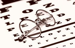 Eyecare. Eyeglasses on a Eyechart Royalty Free Stock Photography