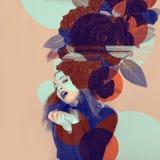 Eyecatching красивое художественное произведение женщины с розами и влияния цвета в duotone стоковая фотография