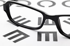 Eyechart with eyewear Stock Images