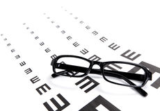Eyechart and glasses Stock Photo