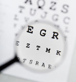 Eyechart and magnifier Royalty Free Stock Image
