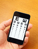 Eyechart on mobile Stock Image