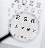 Eyechart y lupa Imagen de archivo libre de regalías