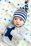 Eyed astonished baby. Funny cute blue-eyed baby. Little boy astonished royalty free stock photo
