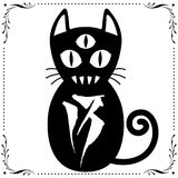 3 Eyed Black Cat N0.13 with Floral frame Ornament vector. 3 Eyed Black Cat N0.13 with Floral frame Ornament vector for use Stock Photo