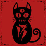 3 Eyed Black Cat N0.13 with Floral frame Ornament vector. 3 Eyed Black Cat N0.13 with Floral frame Ornament vector for use. Red Version Stock Photography