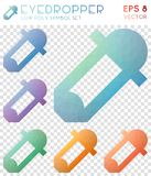 Eyedropper geometric polygonal icons. Artistic mosaic style symbol collection. Divine low poly style. Modern design. Eyedropper icons set for infographics or Royalty Free Stock Photos