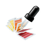 Eyedropper tool and color swatches Stock Photo