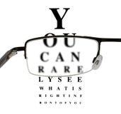 Eyeglass с юмористической eyetest диаграммой Стоковое Изображение RF