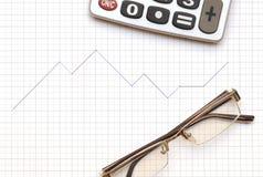 Eyeglass, calculator Stock Photos