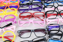 Eyeglass frames. Collection of colorful eyeglass frames royalty free stock image