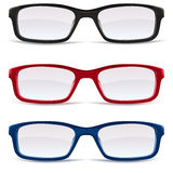 Eyeglasses – black, red and blue Royalty Free Stock Photography
