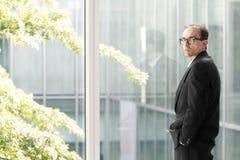 0 Eyeglasses επιχειρηματίας που εξετάζει τη κάμερα Στοκ Φωτογραφία
