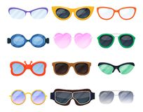Eyeglasses κινούμενων σχεδίων, eyewear συσκευή θεαμάτων και βοηθητικό σύνολο απεικόνιση αποθεμάτων