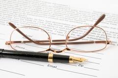 eyeglasses πέννα Στοκ Εικόνα