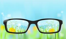 Eyeglasses, φύση στην εστίαση απεικόνιση αποθεμάτων