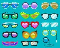 Eyeglasses или солнечные очки шаржа вектора стекел в форме сердца смешной для партии и аксессуаров для моды битников Стоковое Изображение