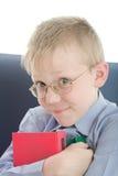 eyeglasses интересные 3 embrace мальчика книг стоковое фото