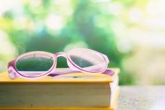 Eyeglasses помещенные на книге против запачканного естественного зеленого backgr Стоковая Фотография RF