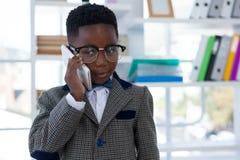 Eyeglasses уверенно бизнесмена нося говоря на мобильном телефоне Стоковое фото RF