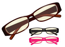 Eyeglasses. Vector image eyeglasses, set different colours Royalty Free Stock Photography