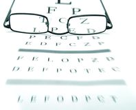 Eyeglasses. On an optometrist chart Royalty Free Stock Photography