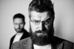 Eyeglasses accessory for smart appearance. Wise glance. Hipster style and fashion. Hipster eyeglasses. Man handsome. Bearded hipster wear eyeglasses. Eye health royalty free stock photo