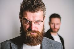 Eyeglasses accessory for smart appearance. Wise glance. Hipster style and fashion. Hipster eyeglasses. Man handsome. Bearded hipster wear eyeglasses. Eye health royalty free stock image