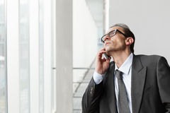 Eyeglasses Adult businessman talking on phone Royalty Free Stock Photography