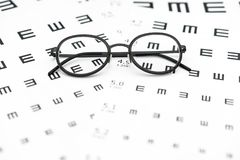 Free Eyeglasses And Visual Acuity Chart In White Background Stock Images - 135170104