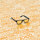 Eyeglasses with background concept wordcloud of human rights Royalty Free Stock Photography