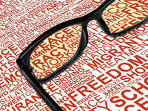 Eyeglasses with background concept wordcloud of human rights Stock Photos