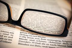 Eyeglasses on bible