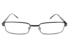 Eyeglasses, Black Men Spectacles, Titanium Frame, Isolated Macro Closeup, Large Detailed Studio Shot. Eyeglasses, Black Men Spectacles, Titanium Frame, Isolated Stock Images