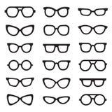 Eyeglasses black silhouettes vector icons set. Minimalistic design. Royalty Free Stock Image