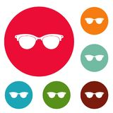 Eyeglasses for blind icons circle set vector Royalty Free Stock Photography