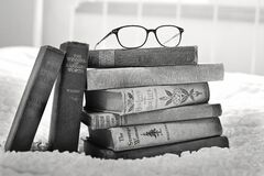 Eyeglasses on books Royalty Free Stock Photos