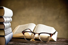 Eyeglasses with books Royalty Free Stock Photo