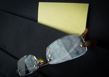 Eyeglasses in briefcase pocket with papers Royalty Free Stock Images
