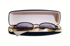 Eyeglasses in case. Isolated on white Stock Photo