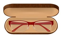 Eyeglasses In Case Illustration. Classic eyeglasses with red frame in brown case on white background realistic vector illustration royalty free illustration
