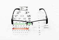 Eyeglasses and chart isolated at white background Stock Image